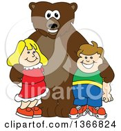 Clipart Of A Grizzly Bear School Mascot Character Posing With Students Royalty Free Vector Illustration