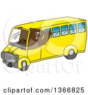 Clipart Of A Grizzly Bear School Mascot Character Waving And Driving A Bus Royalty Free Vector Illustration