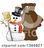 Clipart Of A Grizzly Bear School Mascot Character With A Christmas Snowman Royalty Free Vector Illustration