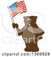 Clipart Of A Grizzly Bear School Mascot Character Waving An American Flag Royalty Free Vector Illustration
