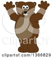 Clipart Of A Grizzly Bear School Mascot Character Cheering Royalty Free Vector Illustration
