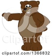 Clipart Of A Grizzly Bear School Mascot Character Pointing Royalty Free Vector Illustration