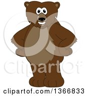 Grizzly Bear School Mascot Character Standing With His Hands On His Hips
