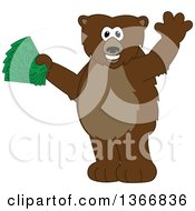 Clipart Of A Grizzly Bear School Mascot Character Waving And Holding Cash Money Royalty Free Vector Illustration by Toons4Biz