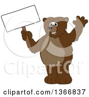 Clipart Of A Grizzly Bear School Mascot Character Waving And Holding A Blank Sign Royalty Free Vector Illustration by Toons4Biz