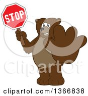 Clipart Of A Grizzly Bear School Mascot Character Holding Out A Paw And A Stop Sign Royalty Free Vector Illustration