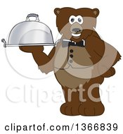 Clipart Of A Grizzly Bear School Mascot Character Waiter Holding A Cloche Platter Royalty Free Vector Illustration by Toons4Biz