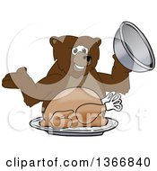 Clipart Of A Grizzly Bear School Mascot Character Serving A Roasted Thanksgiving Turkey Royalty Free Vector Illustration by Toons4Biz