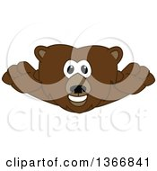 Clipart Of A Grizzly Bear School Mascot Character Leaping Forward Royalty Free Vector Illustration by Toons4Biz