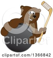 Clipart Of A Grizzly Bear School Mascot Character Grabbing A Puck And Holding A Hockey Stick Royalty Free Vector Illustration by Toons4Biz