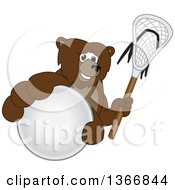 Clipart Of A Grizzly Bear School Mascot Character Grabbing A Ball And Holding A Lacrosse Stick Royalty Free Vector Illustration by Toons4Biz
