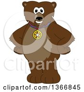 Clipart Of A Grizzly Bear School Mascot Character Wearing A Sports Medal Royalty Free Vector Illustration by Toons4Biz