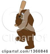 Poster, Art Print Of Grizzly Bear School Mascot Character Ready To Swing A Baseball Bat