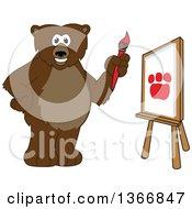 Poster, Art Print Of Grizzly Bear School Mascot Character Painting A Paw On A Canvas