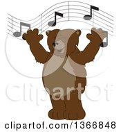 Clipart Of A Grizzly Bear School Mascot Character Singing Under Music Notes Royalty Free Vector Illustration