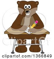 Clipart Of A Grizzly Bear School Mascot Character Writing At A Desk Royalty Free Vector Illustration by Toons4Biz