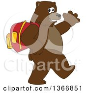 Clipart Of A Grizzly Bear School Mascot Character Wearing A Backpack Walking And Waving Royalty Free Vector Illustration