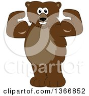 Clipart Of A Grizzly Bear School Mascot Character Flexing His Muscles Royalty Free Vector Illustration by Toons4Biz