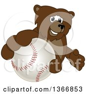 Poster, Art Print Of Grizzly Bear School Mascot Character Grabbing A Baseball