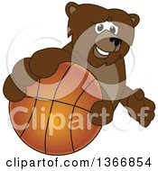 Clipart Of A Grizzly Bear School Mascot Character Grabbing A Basketball Royalty Free Vector Illustration by Toons4Biz