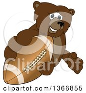 Clipart Of A Grizzly Bear School Mascot Character Grabbing An American Football Royalty Free Vector Illustration by Toons4Biz