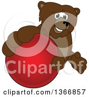 Clipart Of A Grizzly Bear School Mascot Character Grabbing A Ball Royalty Free Vector Illustration by Toons4Biz