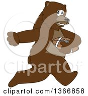 Clipart Of A Grizzly Bear School Mascot Character Running With An American Football Royalty Free Vector Illustration by Toons4Biz