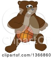 Clipart Of A Grizzly Bear School Mascot Character Dribbling A Basketball Royalty Free Vector Illustration by Toons4Biz