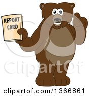 Clipart Of A Grizzly Bear School Mascot Character Holding Up A Finger And A Report Card Royalty Free Vector Illustration by Toons4Biz