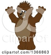 Clipart Of A Grizzly Bear School Mascot Character With A Mohawk Holding Up His Paws Royalty Free Vector Illustration by Toons4Biz