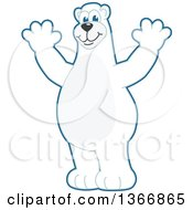 Clipart Of A Polar Bear School Mascot Character Cheering Royalty Free Vector Illustration