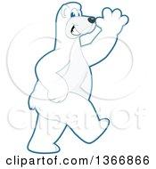 Clipart Of A Polar Bear School Mascot Character Walking And Waving Royalty Free Vector Illustration