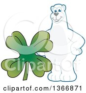 Polar Bear School Mascot Character With A Four Leaf St Patricks Day Clover