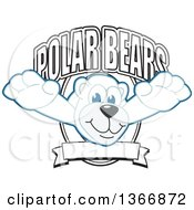 Clipart Of A Polar Bear School Mascot Character Leaping From A Shield Royalty Free Vector Illustration