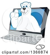 Clipart Of A Polar Bear School Mascot Character Emerging From A Desktop Computer Royalty Free Vector Illustration