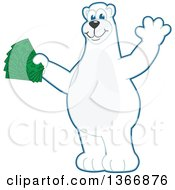 Clipart Of A Polar Bear School Mascot Character Waving And Holding Cash Money Royalty Free Vector Illustration