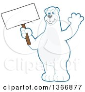 Polar Bear School Mascot Character Waving And Holding A Blank Sign