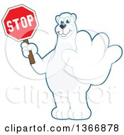 Polar Bear School Mascot Character Holding Out A Paw And A Stop Sign