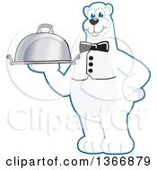Clipart Of A Polar Bear School Mascot Character Waiter Holding A Cloche Platter Royalty Free Vector Illustration