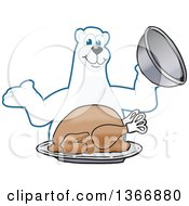 Polar Bear School Mascot Character Serving A Roasted Thanksgiving Turkey