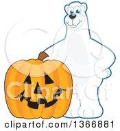 Clipart Of A Polar Bear School Mascot Character With A Halloween Jackolantern Pumpkin Royalty Free Vector Illustration
