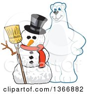 Clipart Of A Polar Bear School Mascot Character With A Christmas Snowman Royalty Free Vector Illustration