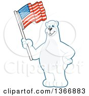 Clipart Of A Polar Bear School Mascot Character Waving An American Flag Royalty Free Vector Illustration