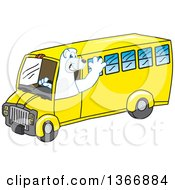 Clipart Of A Polar Bear School Mascot Character Waving And Driving A School Bus Royalty Free Vector Illustration