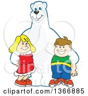 Clipart Of A Polar Bear School Mascot Character Posing With Students Royalty Free Vector Illustration