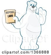 Clipart Of A Polar Bear School Mascot Character Holding A Report Card Royalty Free Vector Illustration
