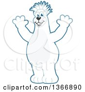 Polar Bear School Mascot Character With A Mohawk Cheering