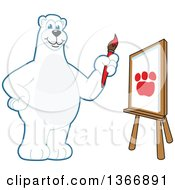 Polar Bear School Mascot Character Painting A Paw Print On A Canvas