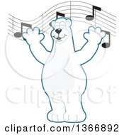 Clipart Of A Polar Bear School Mascot Character Singing Under Music Notes Royalty Free Vector Illustration by Toons4Biz