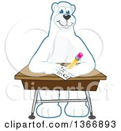 Clipart Of A Polar Bear School Mascot Character Writing At A Desk Royalty Free Vector Illustration